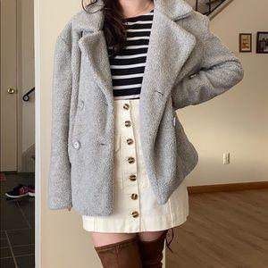 Grey teddy pea coat size Large